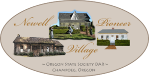 This graphic links to the Newell Pioneer Village, a museum complex in Champoeg, Oregon.